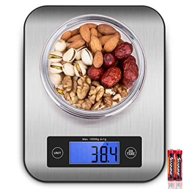 Digital Kitchen Scale Food Scales, CUSIBOX Postage Scale Stainless Steel Accuracy with LCD Display and Tare Function for Baking Cooking and Mail 22 lb 10 kg