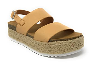 4736334395e Womens JDKazoo2 Casual Espadrille Trim Rubber Sole Flatform Studded Wedge  Buckle Ankle Strap Open Toe Sandals