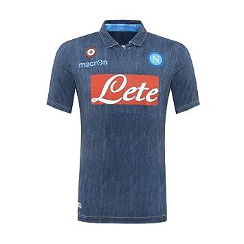 Camiseta de fútbol de la segunda equipación del S.S.C. Nápoles 2014-2015 de Macron, artículo oficial, color azul vaquero, Perfect denim / blue jeans: ...