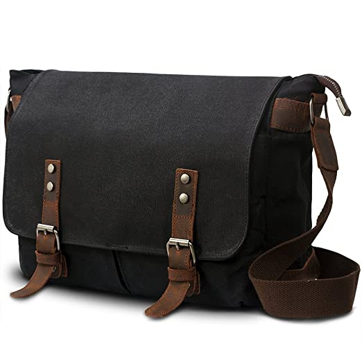 SUVOM Mens Canvas Laptop Messenger Bag Leather Shoulder School Satchel-14 Inch (Black)