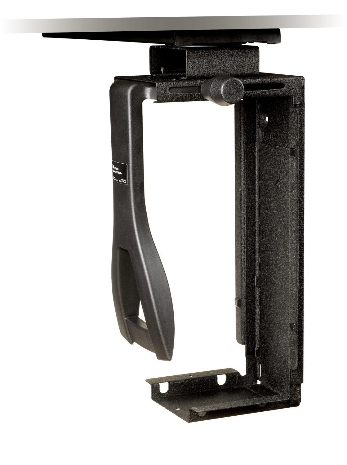 3M Under-desk CPU Holder, Width adjusts from 3.5'' to 9.3'' and height adjusts from 12.5'' to 22.5'' to fit most CPU's up to 50 lbs, 360⁰ Swivel, Steel Construction, 17'' Track, Black, (CS200MB)