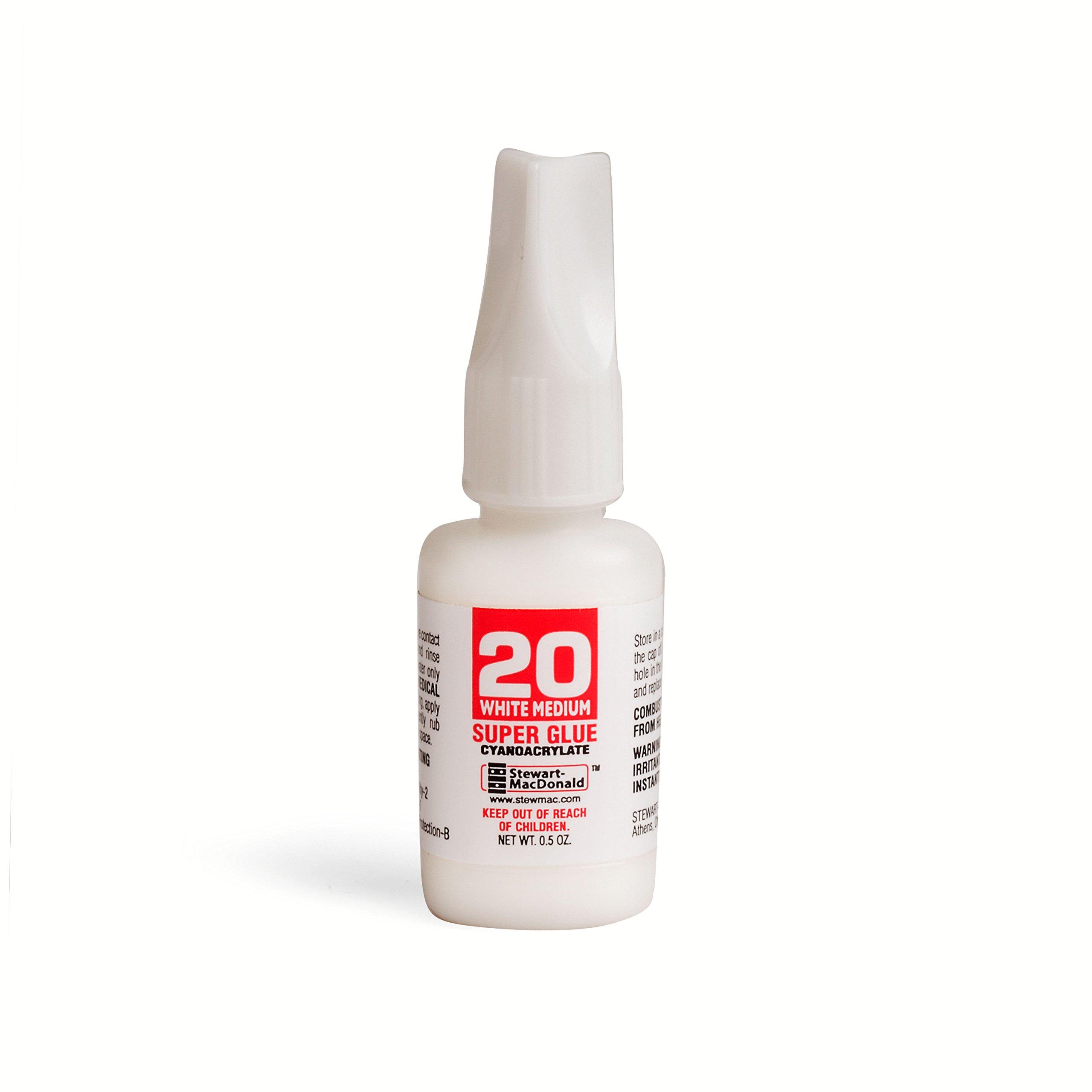 StewMac Tinted Super Glue, White, 0.5 oz.