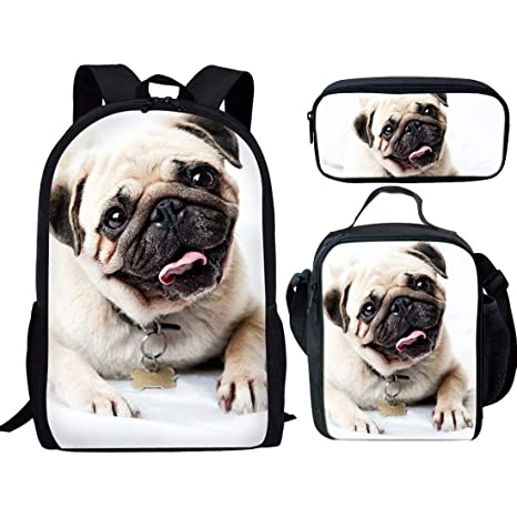c416d7eafbba HUGS IDEA Cute Pug Backpack Set for Teen Boys School Book bag with Thermal  Lunch Box Pen Case 3 in 1