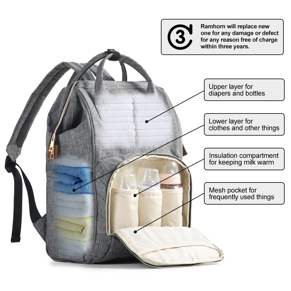 e3f05da38dd Amazon.com   Diaper Bag Backpack, Multi-Function Waterproof Baby Nappy  Changing Bag with Insulated Bottle Pocket, Durable Stylish   Large Capacity  by ...
