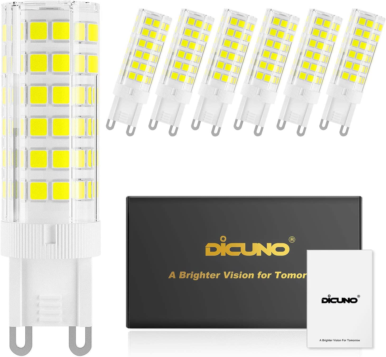 DiCUNO G9 Ceramic Base LED Light Bulbs, 6W (60W Halogen Equivalent), 550LM, Daylight White (6000K), G9 Base, G9 Bulbs Non-Dimmable for Home Lighting, 6-Pack
