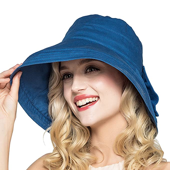 d402deb259bf8 HH HOFNEN Summer Cotton Linen Sun Hats for Women Boonie Fishing Bucket Hat ( Navy)