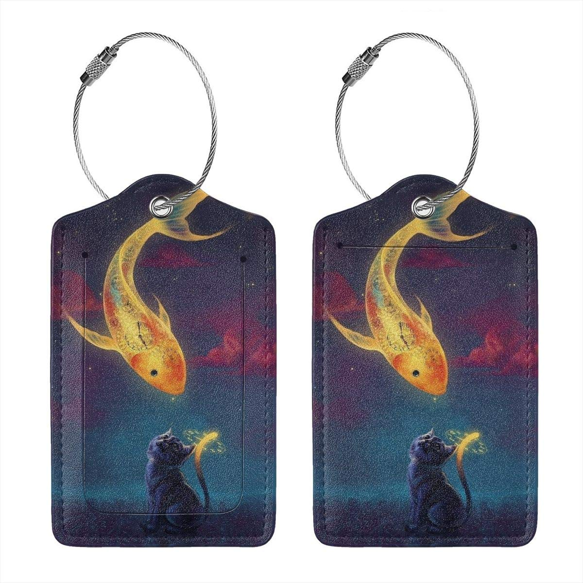 Goldfish And Cat Leather Luggage Tags Personalized Extra Address Cards With Privacy Flap
