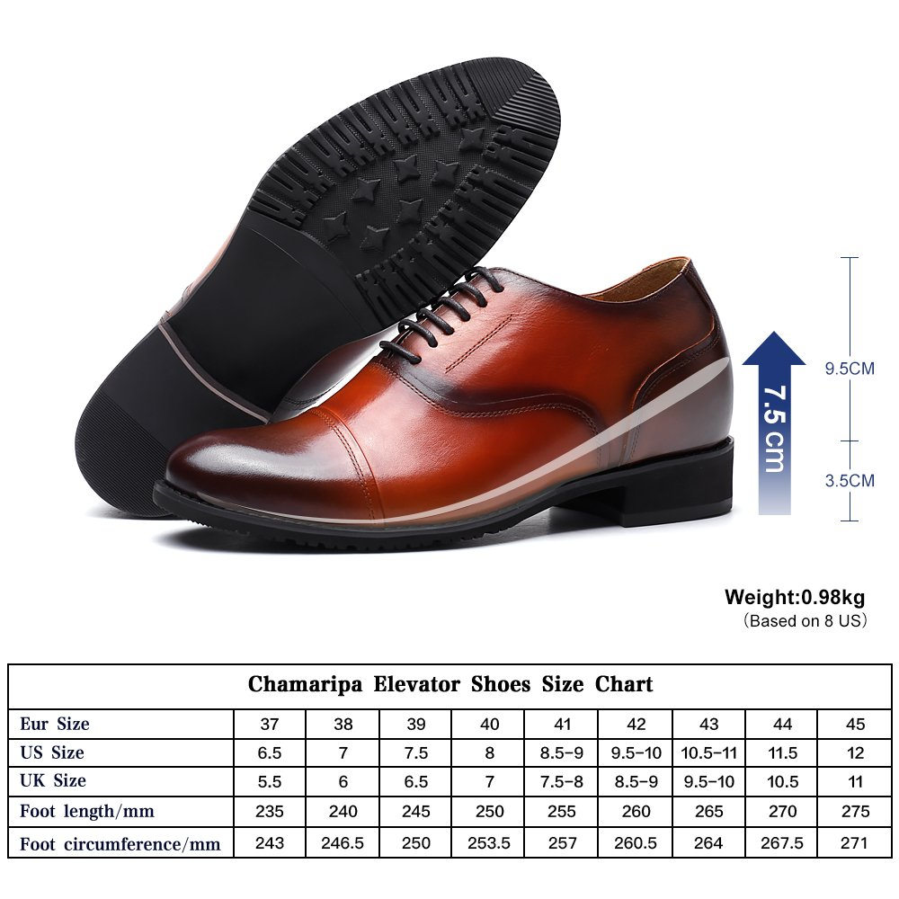 CHAMARIPA 252H11-1 Men's Height Increasing Elevator Dress Shoes Oxford 2.56'' Taller US 10 by CHAMARIPA (Image #4)