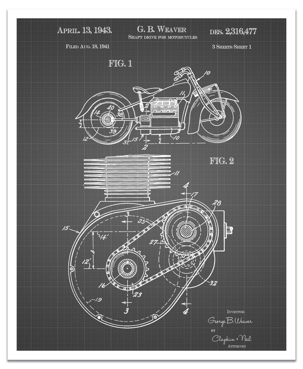 JP London POSJSG37 Steampunk Cogs Shaft Drive Motorcycle Engine Art Peel and Stick Vintage Black Grid Poster Patent Art Black//White Gridlines 24 x 19.75