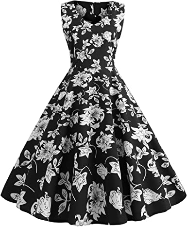 Giulot Women Vintage 1950s Retro Rockabilly Prom Dresses Cap-Sleeve
