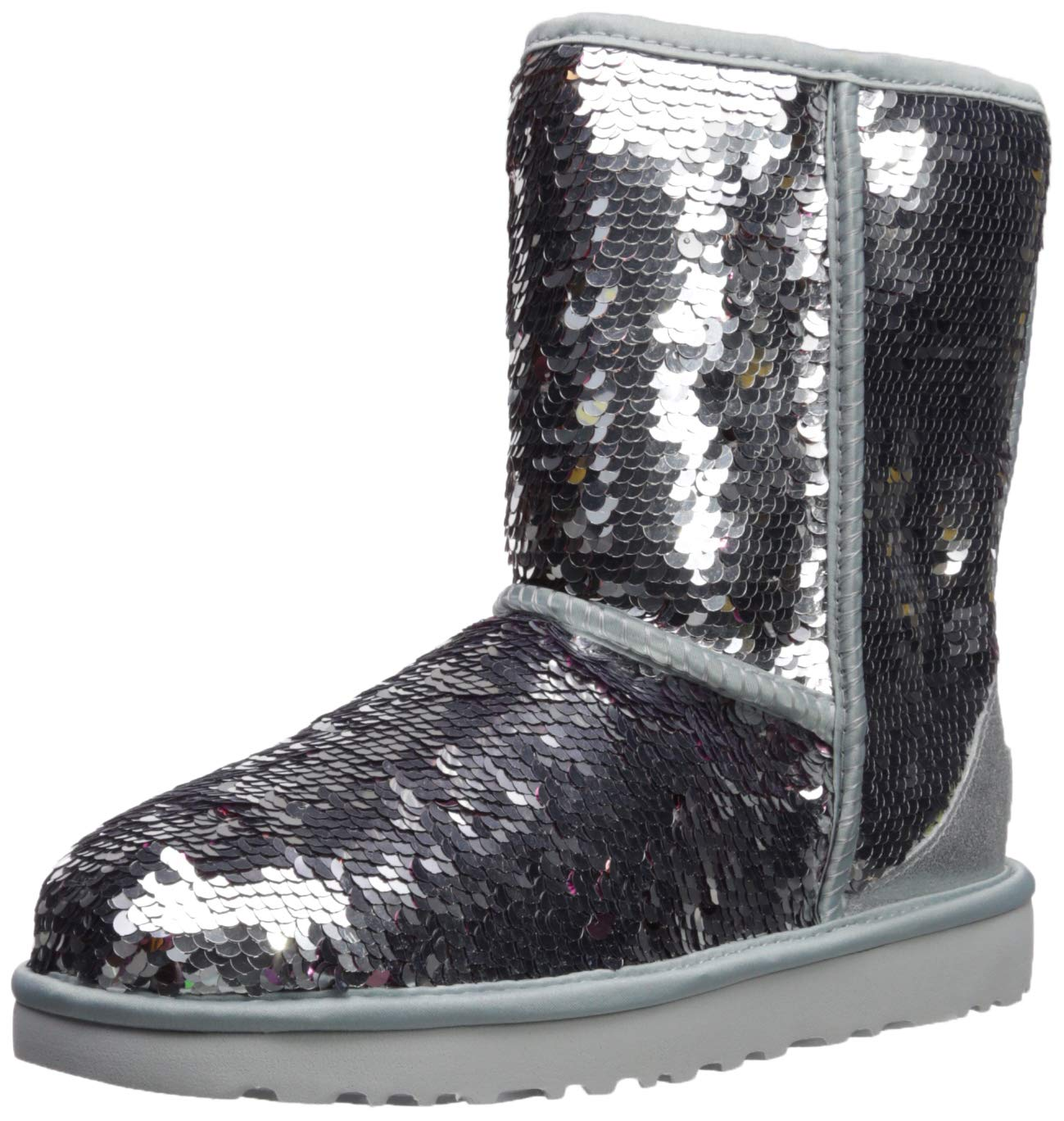 UGG Women's W Classic Short Sequin Fashion Boot Silver 10 M US