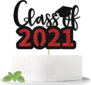 Glittery Class of 2021 Cake Topper - Congrats Grad Cake Decor - 2021 High School/College/Senior Graduation Party Decorations Supplies(Black and Red)