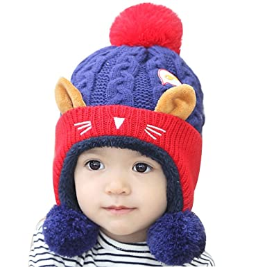 2d2fde5aff5 Lishy Cute Fashion Baby Boys Girls Beanie Cat Hat Children Cotton Print  Knitting Winter Hats Photography Prop Stretchy Super Soft Warm (A)   Amazon.co.uk  ...