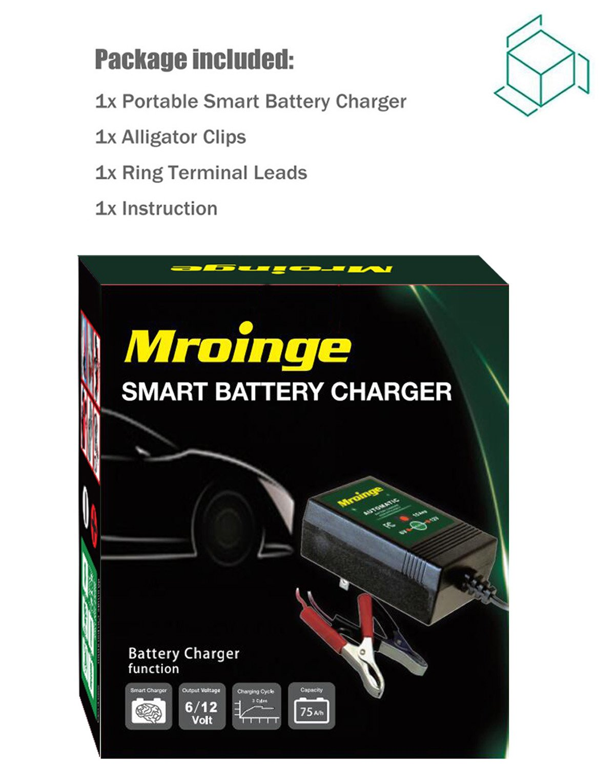Mroinge automotive trickle battery charger maintainer 12V 1A for car motorcycle Lawn Mower SLA ATV WET AGM GEL CELL Lead Acid Batteries, Smart battery charger is tender charge for protect your battery by Mroinge (Image #7)