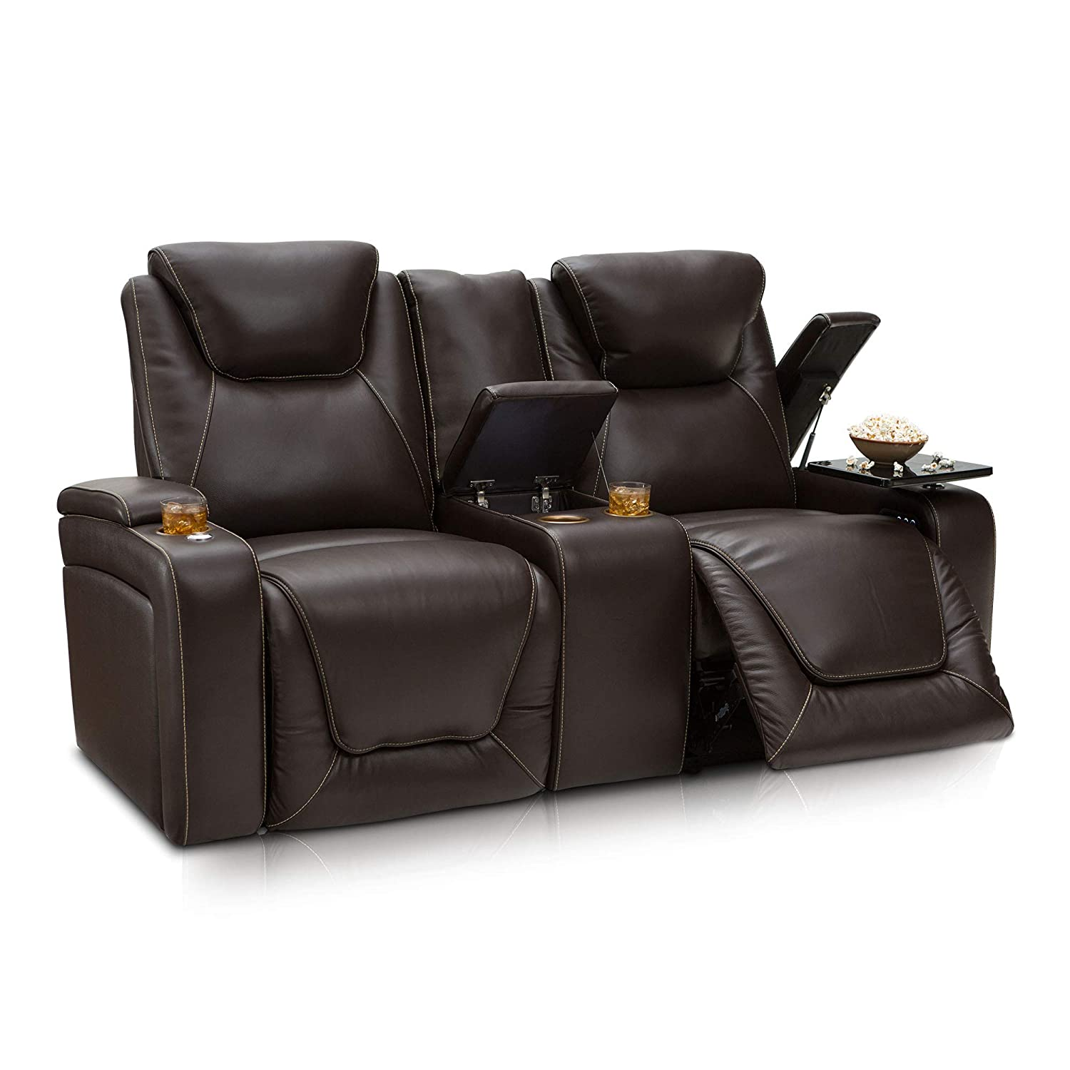 Seatcraft Vienna Home Theater Seating Leather Sofa Recline, Adjustable Headrest, Powered Lumbar Support, and Cup Holders (Loveseat, Brown)