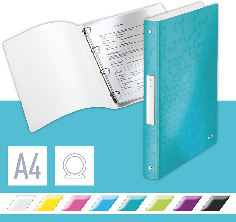A4 25 mm R/ückenbreite 2 D-Ring Mechanik Leitz WOW Ringbuch f/ür bis zu 190 Blatt 2x 4 Farben