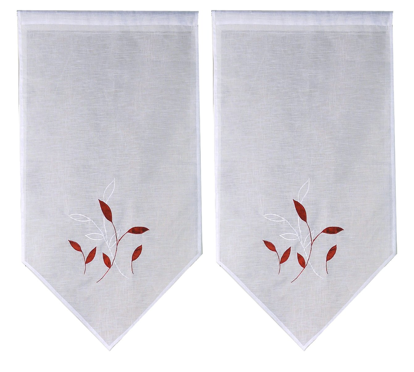 Ciel de France Voilage Paire de Vitrage Polyester Rouge 120x60 cm