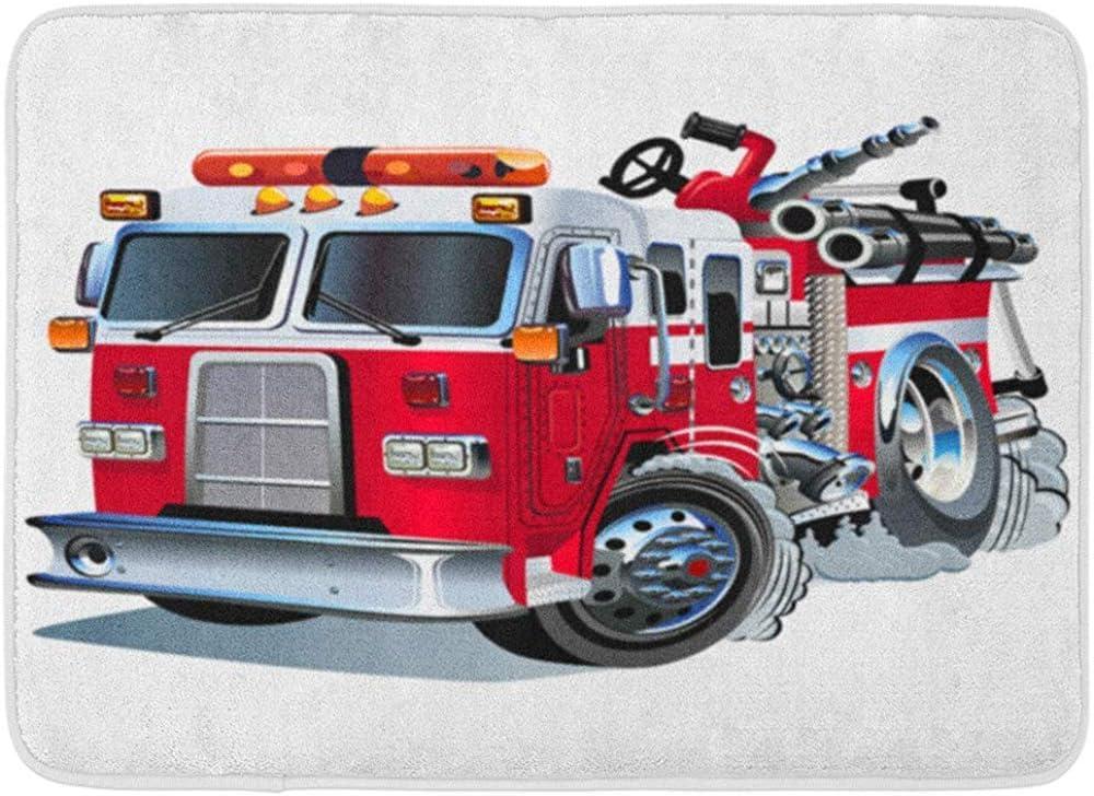 Alfombra Exterior/Interior Motor Rojo camión de Bomberos de Dibujos Animados Coche camión de Bomberos Bombero Emergencia Lindo baño decoración Alfombra Alfombra de baño 40x60 cm: Amazon.es: Hogar