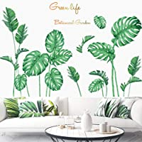Poorminer Tropical Plants Green Plants Fresh Leaves Peel Stick Wall Stickers Decals Art Murals Paper for Kids Baby…