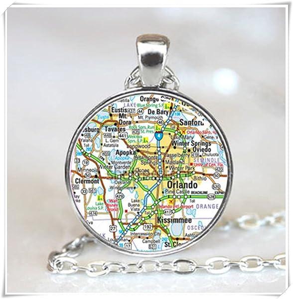 Eustis Florida Map.Amazon Com Orlando Florida Map Pendant Florida Necklace Map