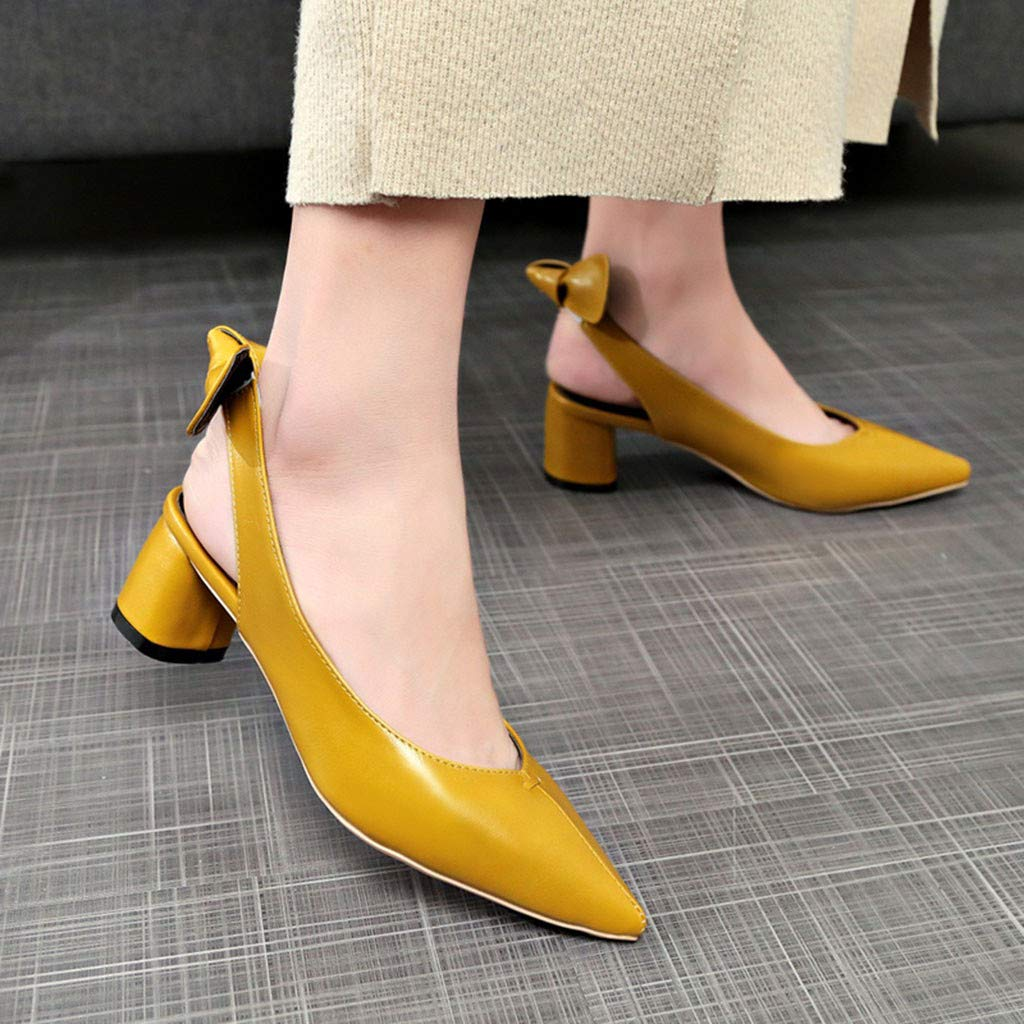 Women Sandals, ❤️ FAPIZI Pointed Toe Slingback Shoes Mid Heels Party Wedding Prom Dress Pumps Court Shoes Sandals Yellow by FAPIZI Women Shoes (Image #2)