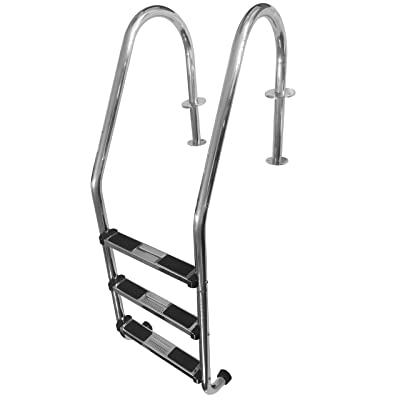 FibroPRO Stainless Steel In Ground Swimming Pool Ladder with Easy Mount Legs (3 Step) : Garden & Outdoor
