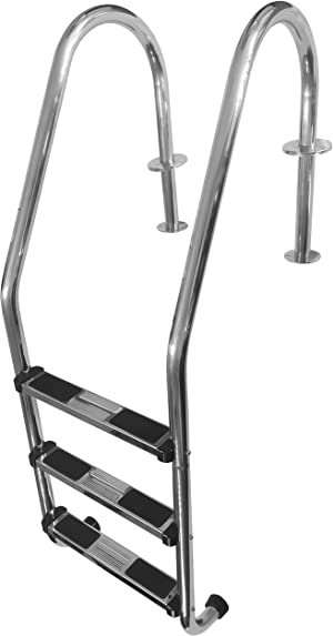 FibroPRO Stainless Steel In Ground Swimming Pool Ladder with Easy Mount Legs (3 Step)