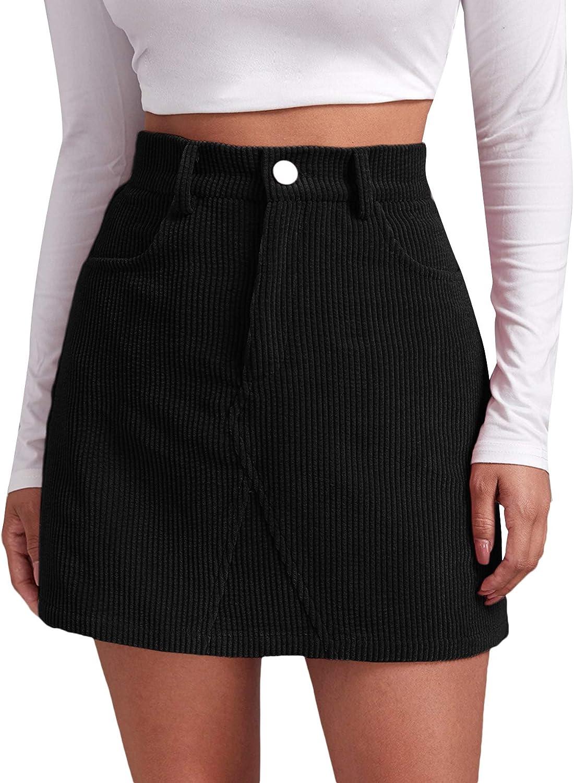 Women High Waist Corduroy A-Line Skirt Button Down Short Mini Party Dress Casual