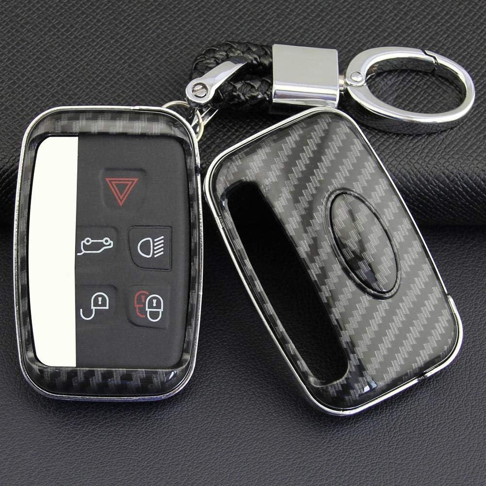 kioski Cl/é de Voiture en ABS en Fibre de Carbone Couverture /Étui de Protection Rigide pour Range Rover Sport Evoque Velar Discovery4 pour Jaguar XE XF XJ