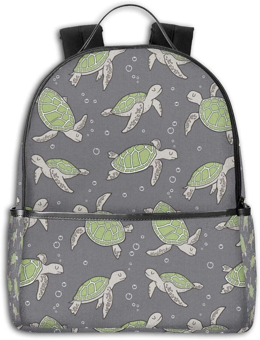 Sea Beach A Aquatic Grey Kids Baby Turtle Side Themed Casual Shoulders Backpack Travel Mini Bookbag Book Back School Bag For Girls Boy Women Men Merchandise