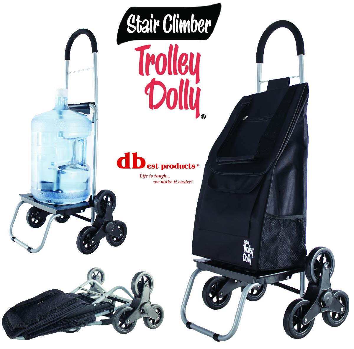dbest products Stair Climber Trolley Dolly, BlackShopping Grocery Foldable Cart Condo Apartment