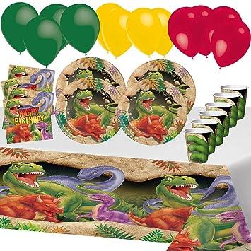 Desconocido Fiesta de Cumpleaños de Dinosaurio Animales para 8 Niños Chico Decoración Infantiles Mesa 1 Mantel 8 Tazas 16 Servilletas 16 Platos 12 ...