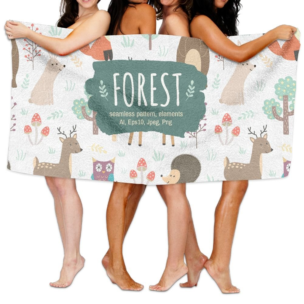 PengMin Cute Woodland Animal Tribe Premium 100% Polyester Large Bath Towel, Pool And Bath Towel (80'' X 130'') Natural, Soft, Quick Drying