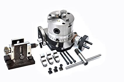 WITH 100MM 3 JAW SELF CENTERING CHUCK /& BACKPLATE. 3 SLOT HV4 ROTARY TABLE