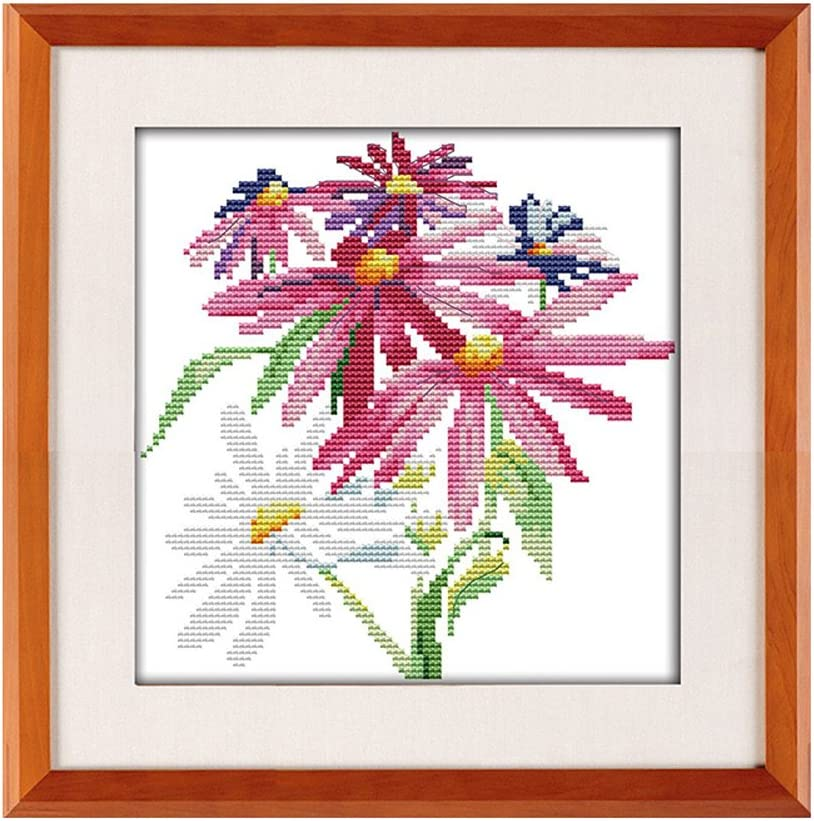 vase Daisies Stamped Cross Stitch Kits for Beginners Acurate Pre-Printed Counted Cross Stitch