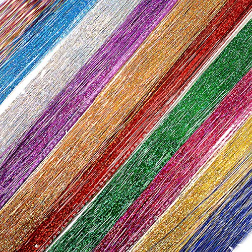 40'' Hair Tinsel 500 Strands Ten Color Super bright(Sparking Gold, Green, Hot Pink, Rainbow, Champagne Gold, Crimson, Sky Blue, Sapphire Blue, Silver, Violet)