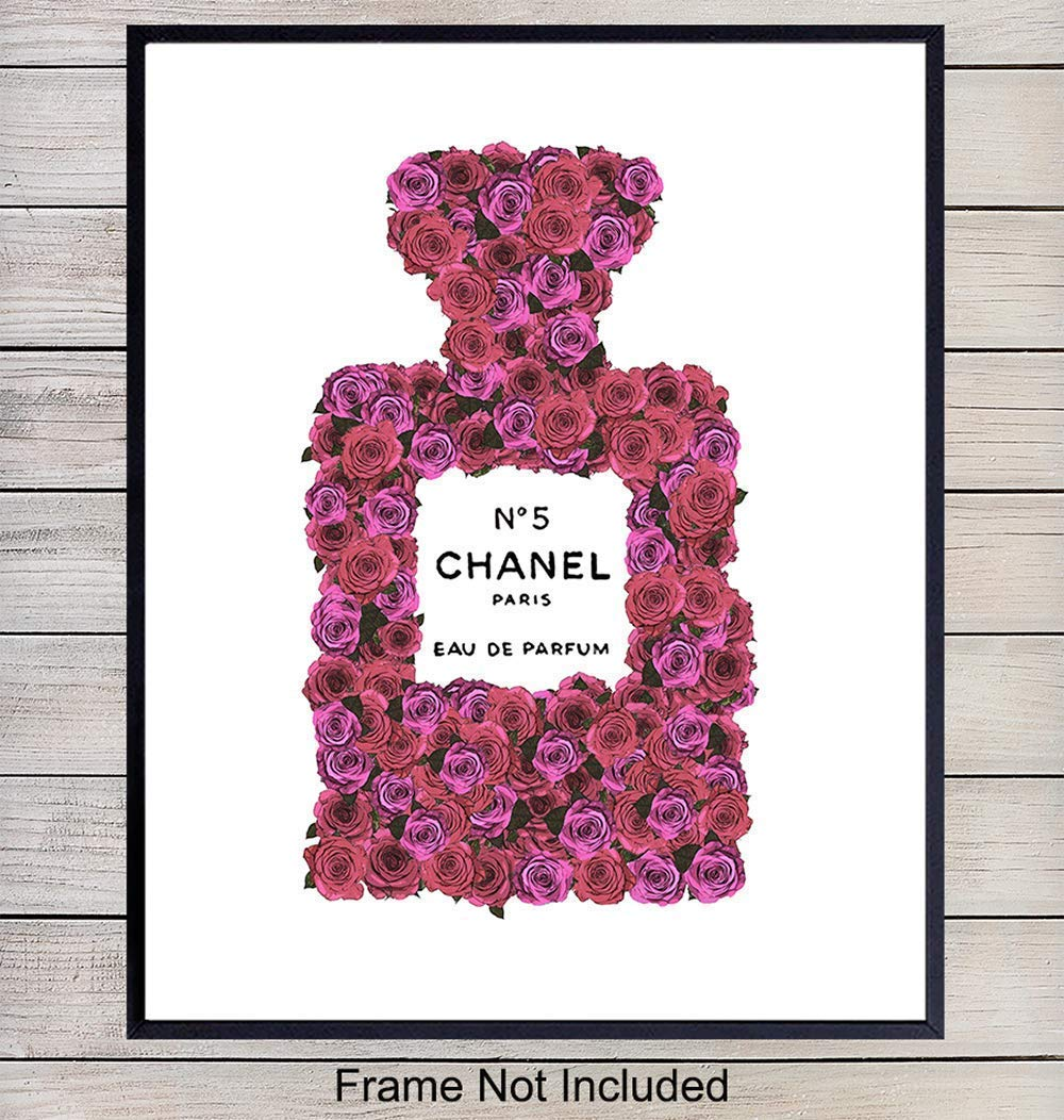 Designer Perfume Home Decor Wall Art Poster Print – Chic Couture Decorations for Bedroom, Bathroom, Dorm – Contemporary Glam Gift for Women, Her, Wife, Girls, Teens, Fashion Fans - 8x10 Photo Unframed