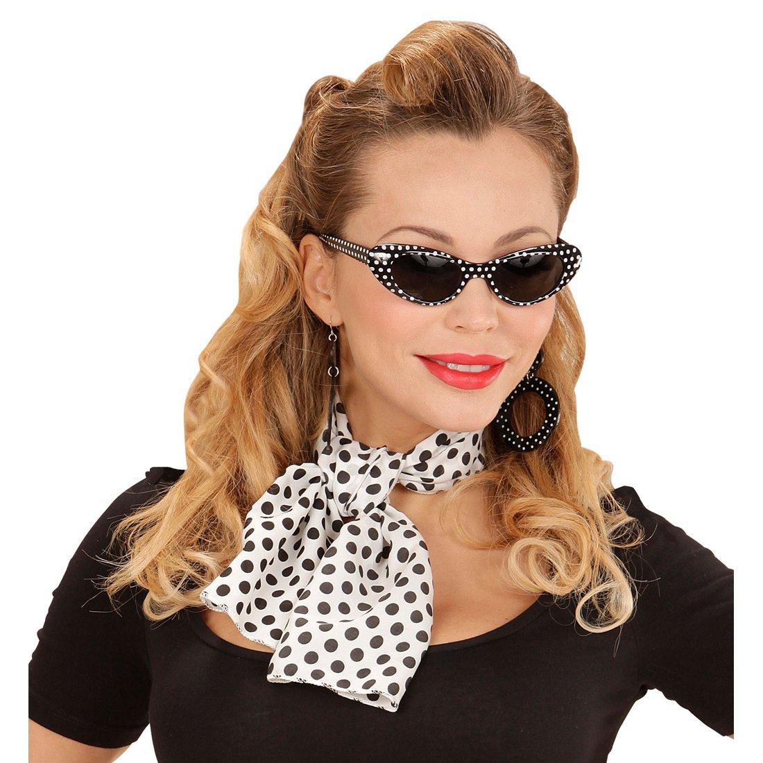 Rockabilly Kostum Set Mit Sonnenbrille Ohrringe Und Halstuch 50er