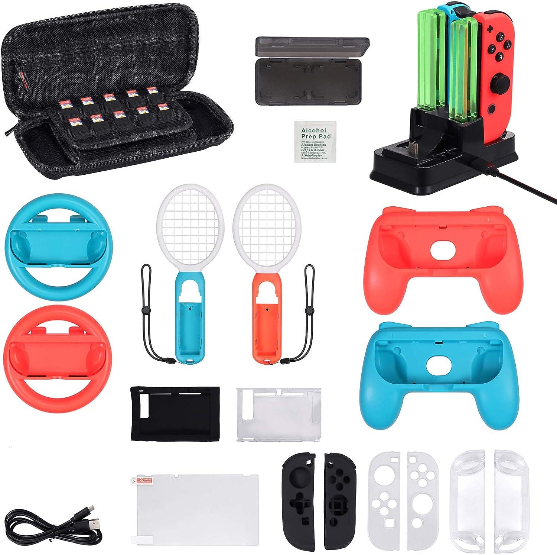 Accessories para Switch Volantes Agarres Raquetas Fundas de Almancenamiento Base de Carga con Protector Silicona y Protector Pantalla (17 en 1)
