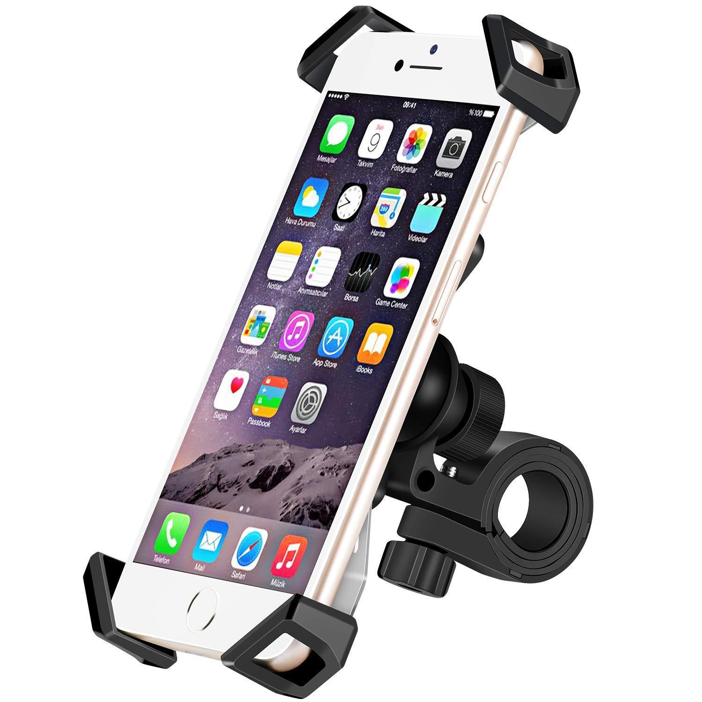 IceFox Handyhalterung Fahrrad, Universal Anti-Shake Fahrrad Motorrad Handyhalterung, Smartphone Fahrradhalterung Mit 360 Drehen fü r 3, 5-6, 5 Zoll Smartphone, GPS, Andere Gerä te IT001-H1