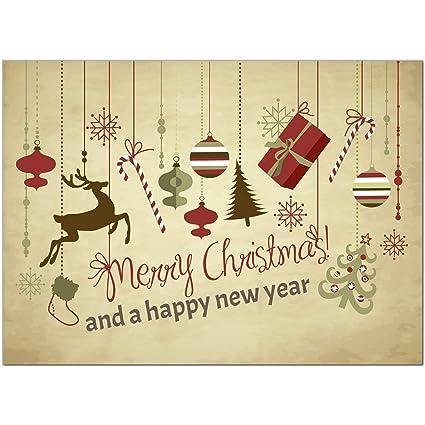 Moderne Weihnachtskarten.15 X Moderne Weihnachtskarten Mit Umschlag Motiv Weihnachtliche Anhanger Merry Christmas Beige Vintage Braun Im Postkarten