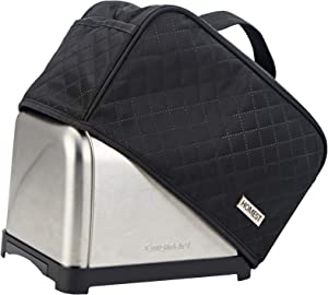 HOMEST Toaster Dust Cover with Pockets Compatible with Cuisinart 2 Slice Toaster, Can Hold Jam Spreader Knife & Toaster Tongs, Dust and Fingerprint Protection, Black