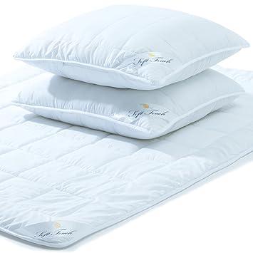 Aqua Textil Soft Touch Bettdecken Set 200x200 2x Kopfkissen 80x80 Bettdecke Winter Sommer Mikrofaser Kochfest Steppbett 2000021