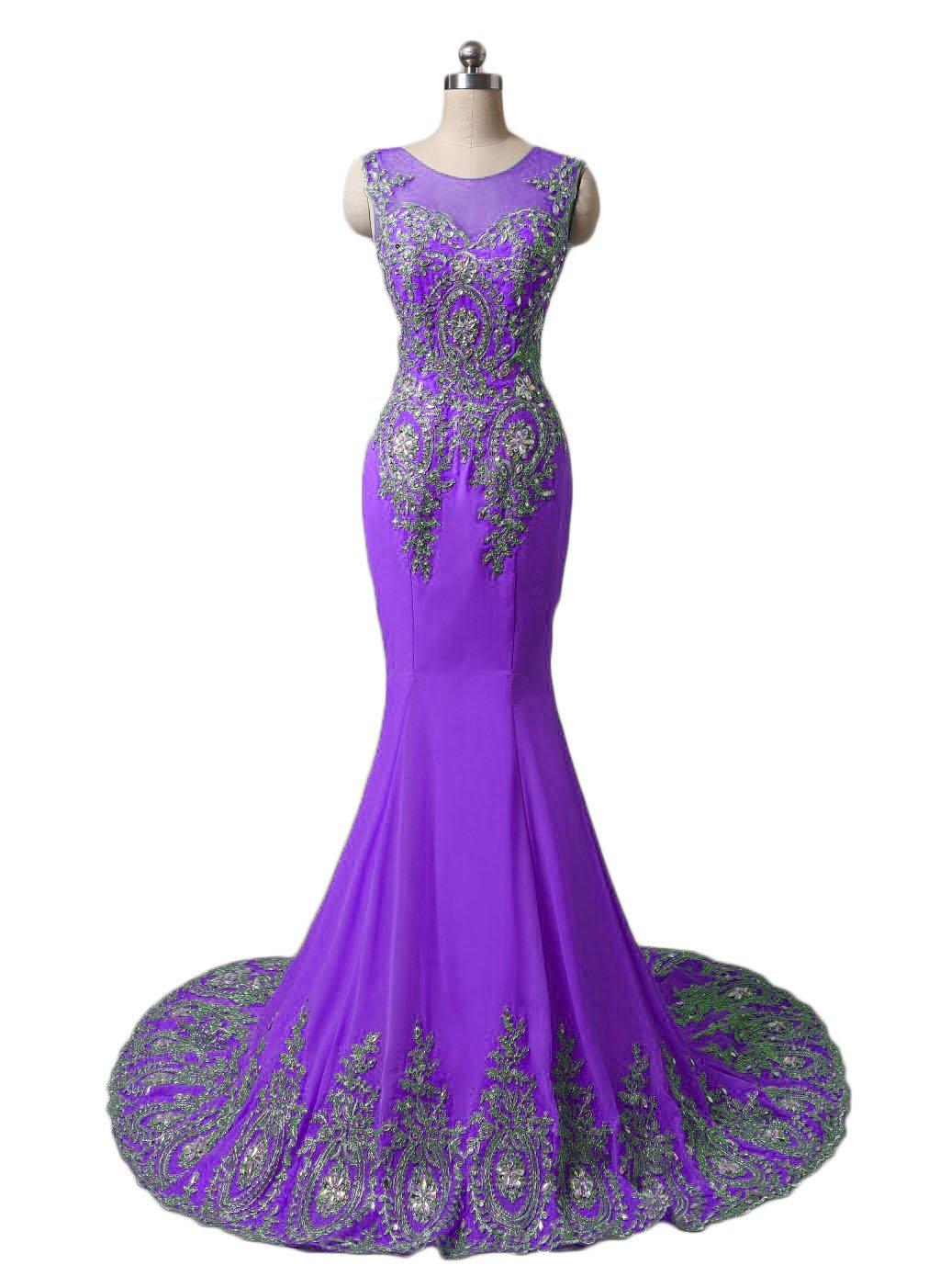 Dydsz Women's Evening Party Dresses Long Prom Dress Mermaid Beaded Gold Appliques D86 Purple 18 Plus
