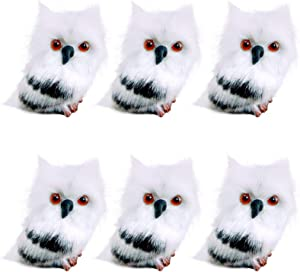EBaokuup 6Pcs Christmas Furry Owl Tabletop Ornament, Black and White Plush Baby Owl Decoration, Christmas Style Cute Owl Model Desktop Decor