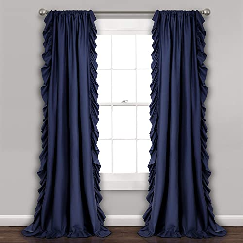 Lush Decor Navy Reyna Window Panel Curtain Set