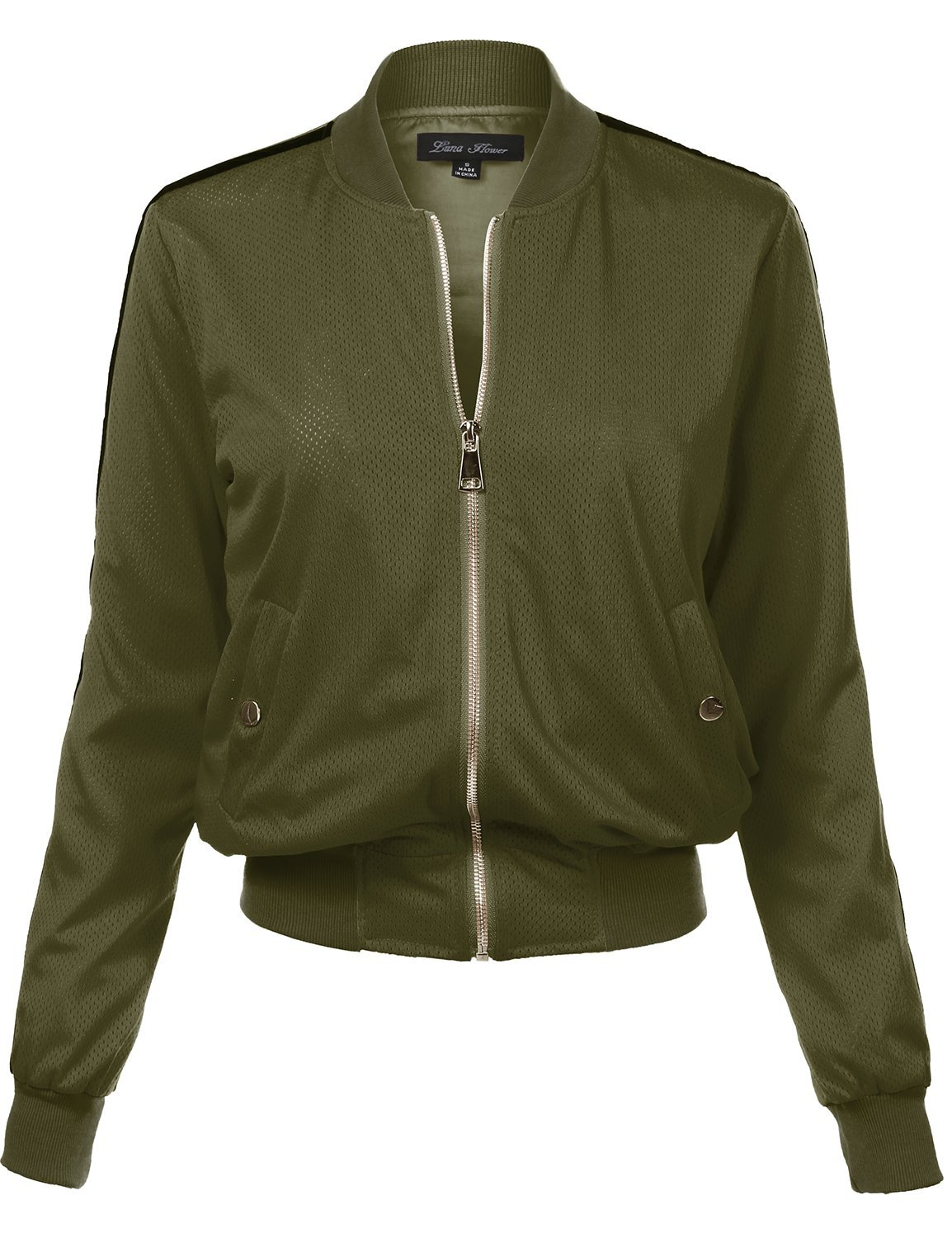 Waist Length Relaxed Fitted Style Zipper Closure Bomber Jacket, 109-Olive, Medium