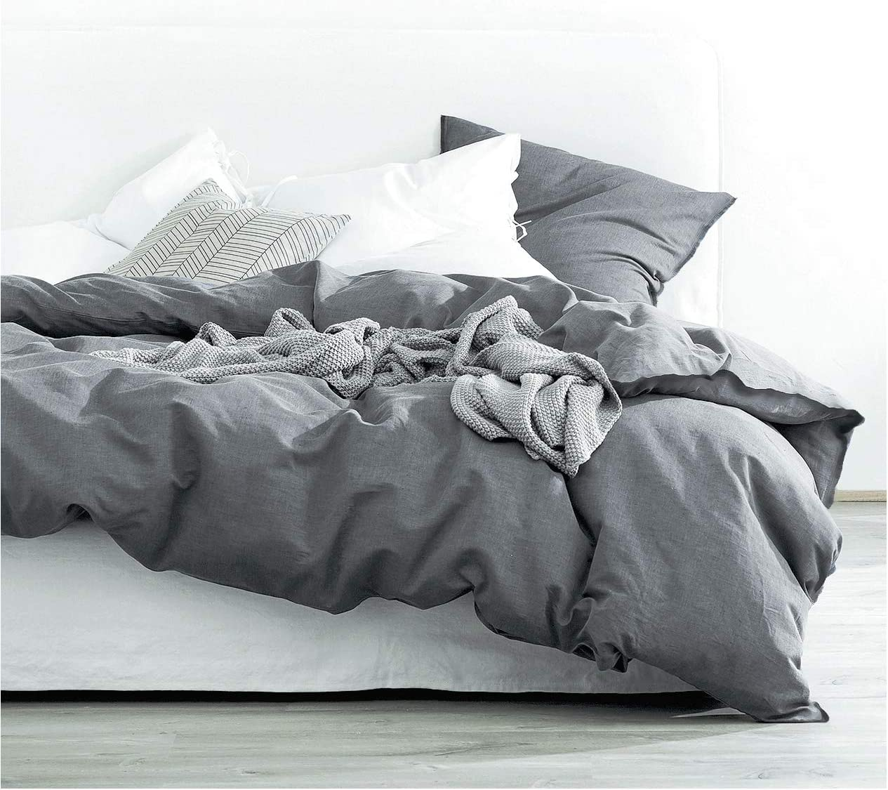 Eikei Washed Cotton Chambray Duvet Cover Solid Color Casual Modern Style Bedding Set Relaxed Soft Feel Natural Wrinkled Look (King, Charcoal)