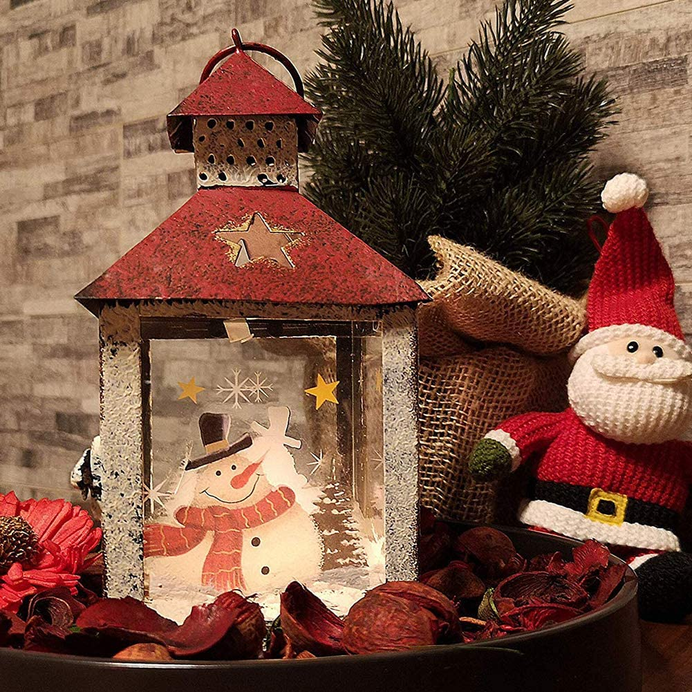 Christmas Home Decorations Red Rustic Table Centerpiece or Hanging Lantern Holder I GO Christmas Candle Lantern Decoration Hand Painted Metal and Glass Snowman Decorative Candle Holder