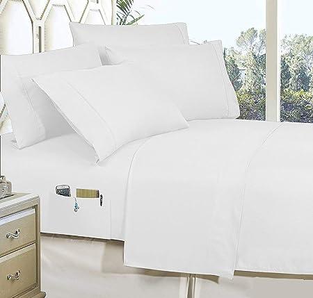 BudgetLinen Juego de sábanas de algodón egipcio de 600 hilos, colección sólida, 4 piezas, con bolsillos de utilidad, algodón, Blanco, UK King Size150 x 200 cm(5 ft x 6ft 6in): Amazon.es: Hogar